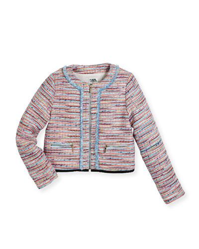 Tweed Fringe Zip-Front Jacket, Multicolor, Size 12-16