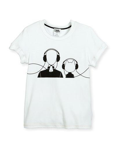 Karl & Choupette w/ Headphones Jersey Tee, White, Size 6-10