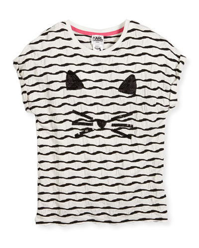 Textured Choupette Stretch Jersey Tee, White, Size 12-16