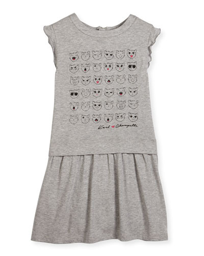 Faces of Choupette Jersey Dress, Gray, Size 6-10