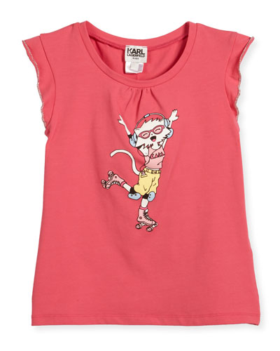 Flutter-Sleeve Choupette Skating Jersey Tee, Pink, Size 6-10