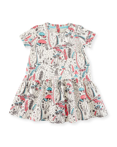 Short-Sleeve Printed Stretch Jersey Dress, Pink/White, Size 6-24 Months