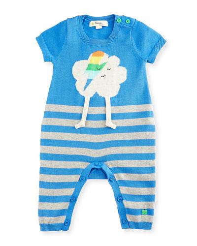 Ziggy Flash Cloud Intarsia Striped Playsuit, Blue, Size 0-6 Months