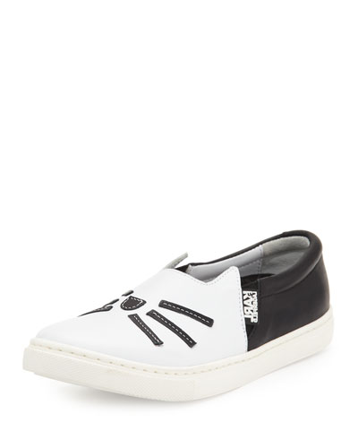 Leather Choupette Slip-On Sneaker, Black/White, Youth