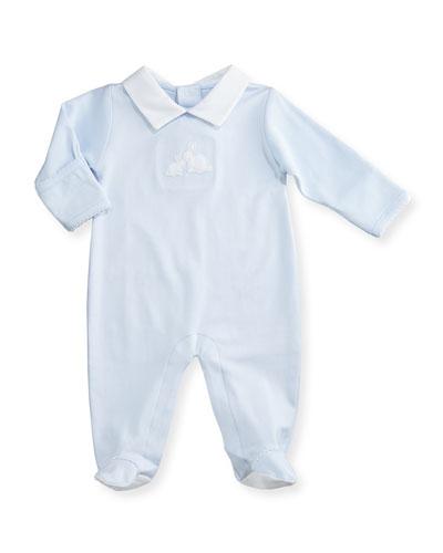 Pique Cottontails Pima Footie Pajamas, Blue, Size 0-9 Months