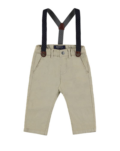 Stretch Twill Straight-Leg Pants w/ Suspenders, Sand, Size 12-36 Months