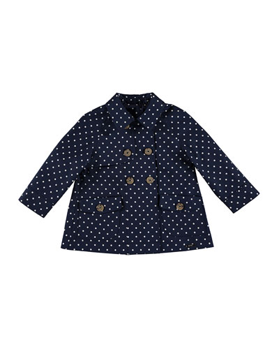Twill Polka-Dot Double-Breasted Raincoat, Blue, Size 3-7