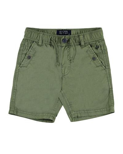 Embroidered Cotton Twill Shorts, Khaki, Size 3-7