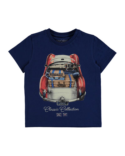 Roadster Cotton Jersey Tee, Blue, Size 3-7
