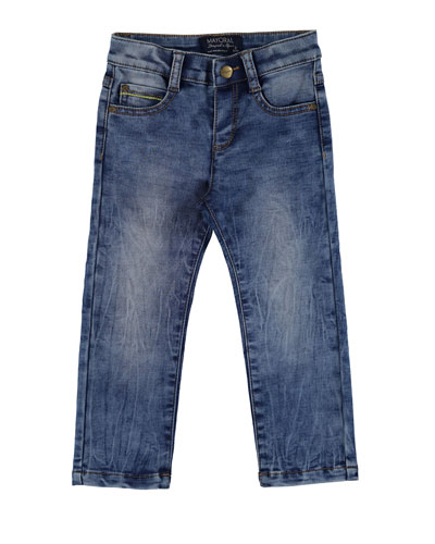 Faded Straight-Leg Faux Jeans, Blue, Size 3-7