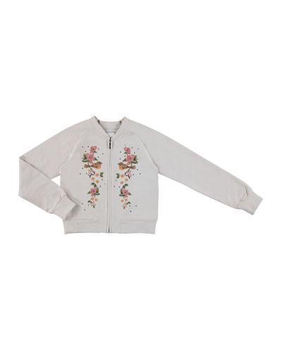 Floral Fleece Bomber Jacket, Ivory, Size 8-16