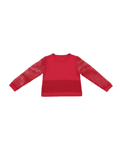 Mesh Crewneck Pullover Sweater, Red, Size 8-16
