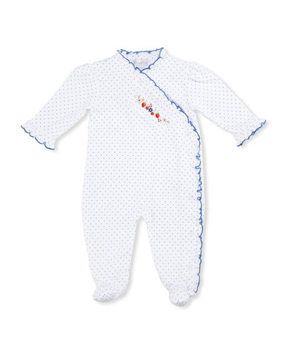 Strawberry Delight Pima Footie Pajamas, Blue/White, Size 0-9 Months