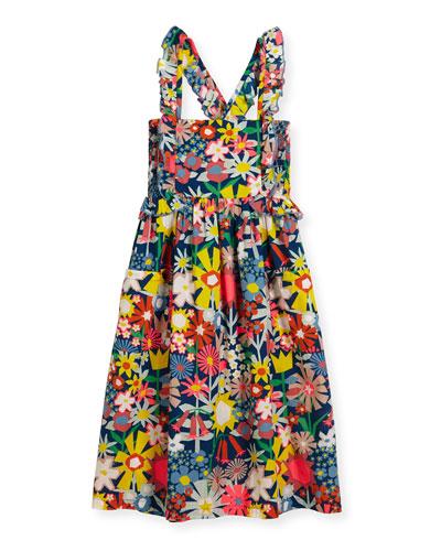 Celeste Cross-Back Floral Poplin Dress, Multicolor, Size 4-14