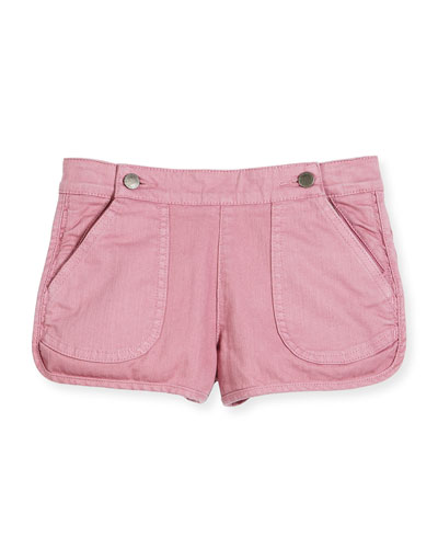 Sky Stretch Denim Dolphin Shorts, Pink, Size 4-12