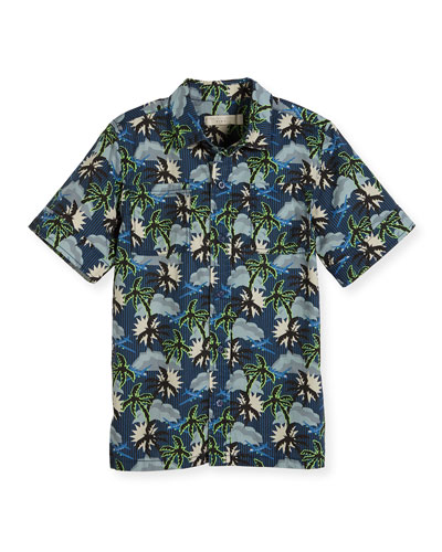Rowan Cotton Hawaiian Shirt, Blue, Size 4-10