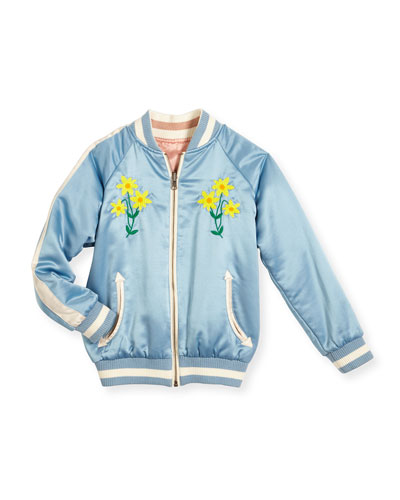 Willow Reversible Embroidered Satin Bomber Jacket, Blue, Size 4-14