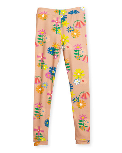 Tula Floral Jersey Leggings, Pink, Size 4-12