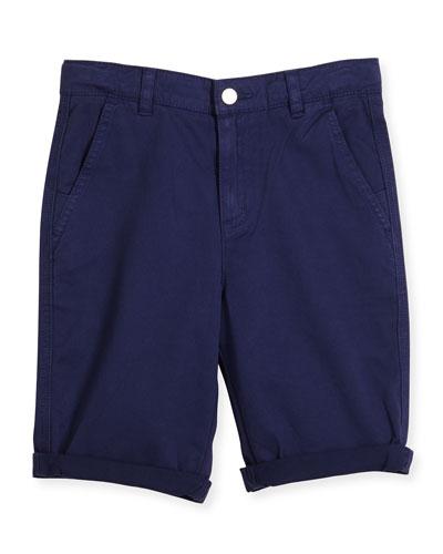 Lucas Cuffed Chino Shorts, Blue, Size 4-10