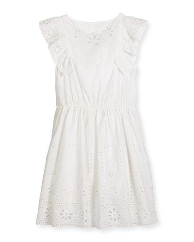 Alabama Sleeveless Smocked Eyelet Dress, White, Size 4-14