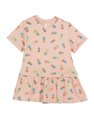 Jess Pineapple-Print Short-Sleeve Dress, Size 12-24 Months