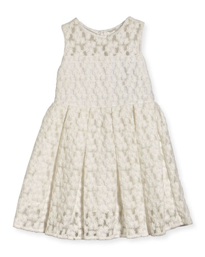 Sleeveless Embroidered Pleated Dress, White, Size 8-16