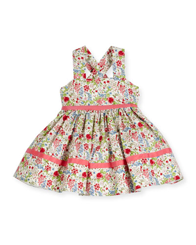 Sleeveless Smocked Floral Cross-Back Dress, Coral/Multicolor, Size 6-18 Months
