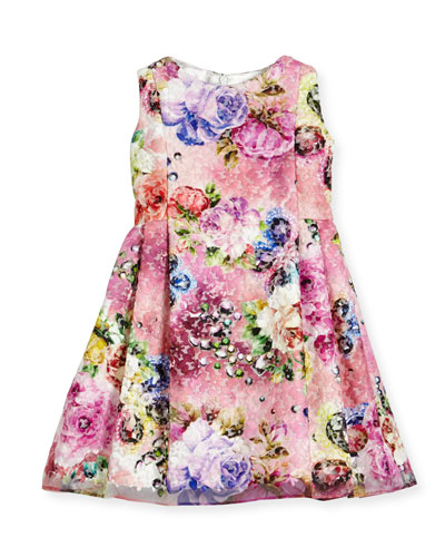 Sleeveless Printed Floral Lace Dress, Multicolor, Size 2-6