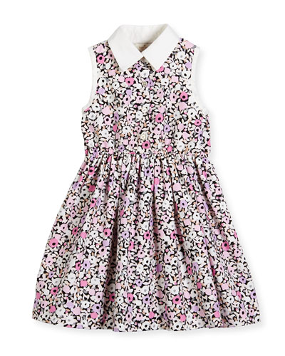sleeveless floral smocked poplin shirtdress, pink, size 2-6