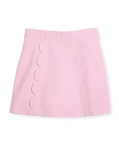 scalloped ponte skirt, pink, size 7-14
