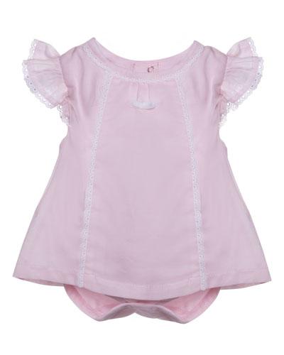 Sleeveless Lace-Trim Stretch Jersey Play Dress, Pink, Size 1-9 Months