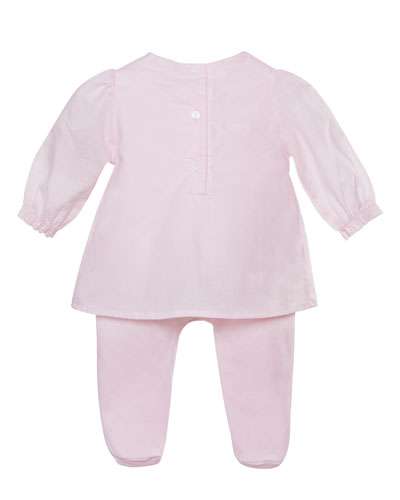 Long-Sleeve Bibbed Coverall Dress, Pink, Size 1-9 Months