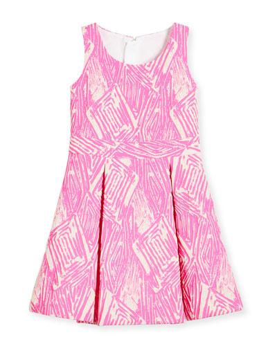 Pleated Jacquard Fit-and-Flare Dress, Pink, Size 2-7