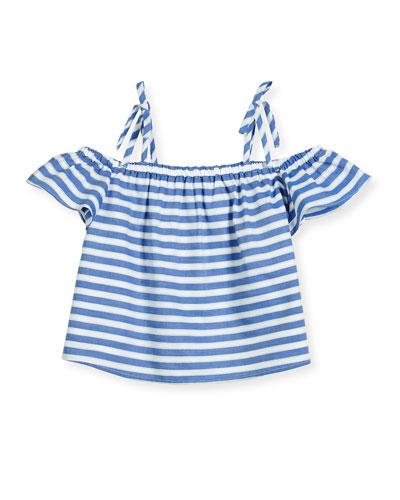 Eden Striped Chambray Cold-Shoulder Top, Blue, Size 8-16