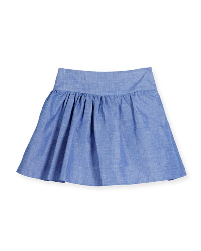 Smocked Chambray Flare Skirt, Blue, Size 4-7