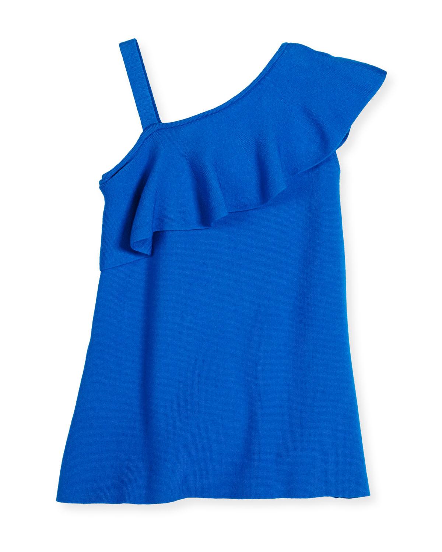 Asymmetric Ruffle-Trim Shift Dress, Turquoise, Size 4-7