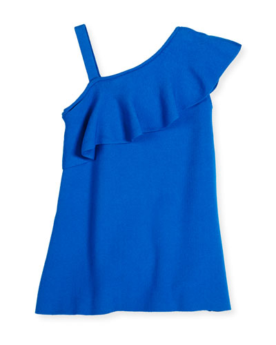Asymmetric Ruffle-Trim Shift Dress, Turquoise, Size 8-14