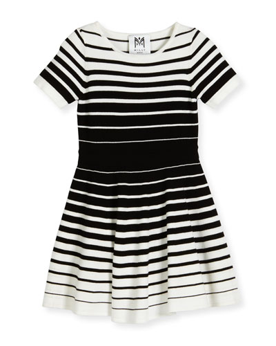 Short-Sleeve Striped Knit Circle Dress, Black/White, Size 4-7