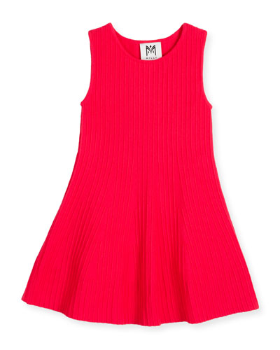 Sleeveless Ribbed Fit-and-Flare Dress, Hot Pink, Size 8-14
