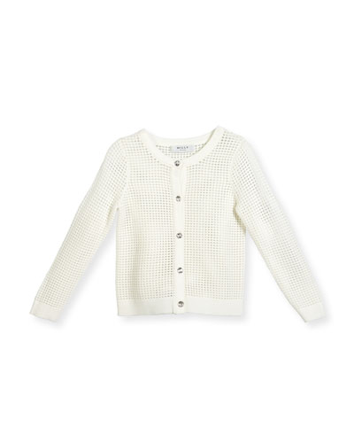 Mesh Button-Front Cardigan, White, Size 4-7