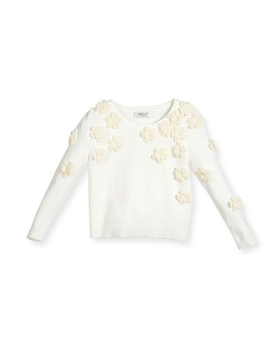 Floral Pullover Sweater, White, Size 8-14