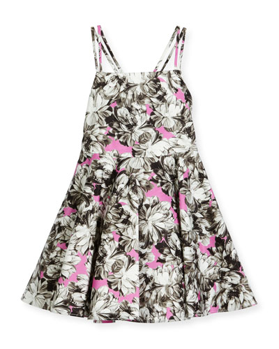 Double-Strap Stretch Jersey Peony Dress, Pink, Size 8-14