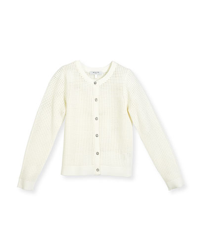 Mesh Button-Front Cardigan, White, Size 8-14