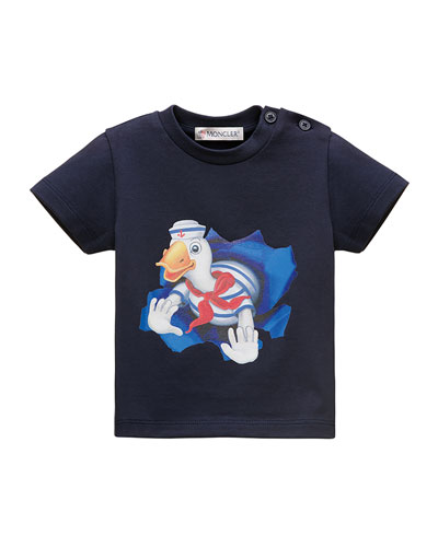 Stretch Jersey Graphic Tee, Navy, Size 12M-3