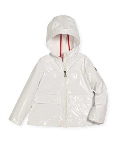 Bedonet Hooded A-Line Raincoat, White, Size 4-6