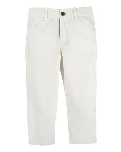 Stretch Twill Straight-Leg Pants, Blue, Size 3-24 Months