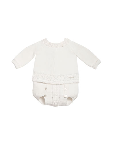 Long-Sleeve Knit Sweater w/ Buttoned Bloomers, White, Size 3-6 Months