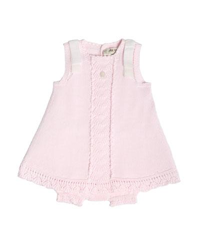 Sleeveless Knit Cotton Dress w/ Bloomers, Pink, Size 3M-2