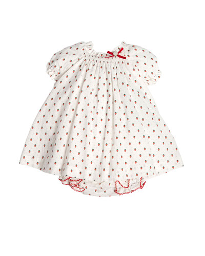 Short-Sleeve Strawberry Shift Dress w/ Bloomers, White, Size 3M-2