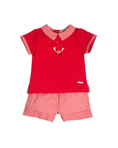 Short-Sleeve Pique Crab Polo Shirt w/ Gingham Shorts, Red, Size 3M-3